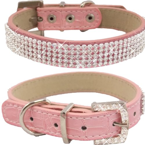 WwWSuppliers Crocodile PU Leather Bling Brilliant Sparkling Shine Flashy Rhinestones Adjustable Dog Puppy & Cat Luxury Cute Elegant Fashion Collar (Pink, Medium)