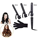 Curling Iron 3 in 1 Hair Curler with Clip Ceramic Tourmaline Barrels Interchangeable