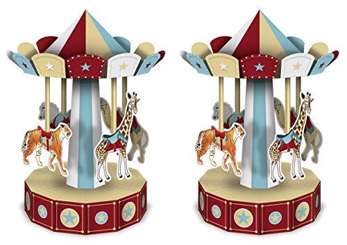 Beistle 59996 3-D Vintage Circus Carousel Centerpieces 2 Piece, 10