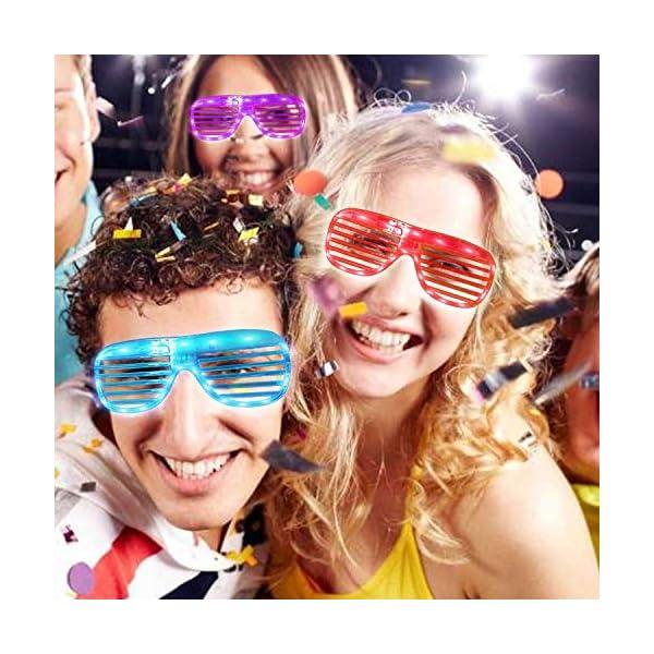elegantstunning 20 Pack LED Plastic Shutters Glasses,3 Color Light Up Led Shades Glasses for Adults Kids