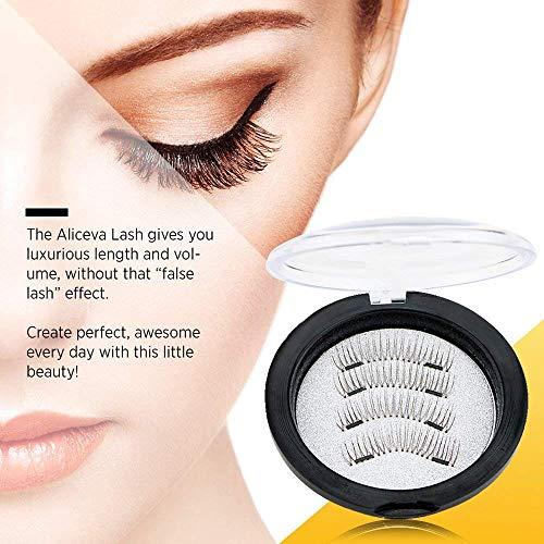 47c00debd2a Aliceva Long Dual Magnetic Eyelashes with Premium Metal Eyelash Tweezers -  26mm False Eyelash Extension Set