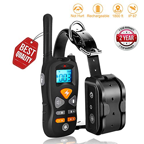 Dog Training Collar,Shock Training Collar For Dogs is NOT Hurt and Rechargeable and IP67 Level Waterproof with 1800FT Remote Beep/vibration/Shock Electronic Collar for all small and lager size dogs.