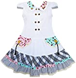 Sunny Fashion FC43 Girls Dress White Cute Colorful Collar Back School Size 9-10