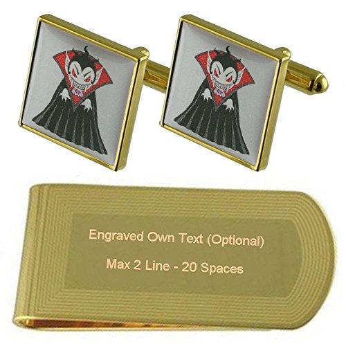 Engraved Cufflinks Gift Dracula Money Clip Vampire Set tone Gold S7xtwqYWtZ