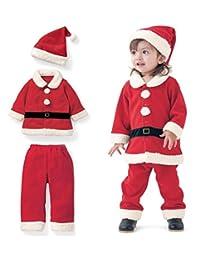 SUPEYA Toddler Baby Girls Boys Christmas Sets Santa Claus Long Sleeve Tops+Pant Hat