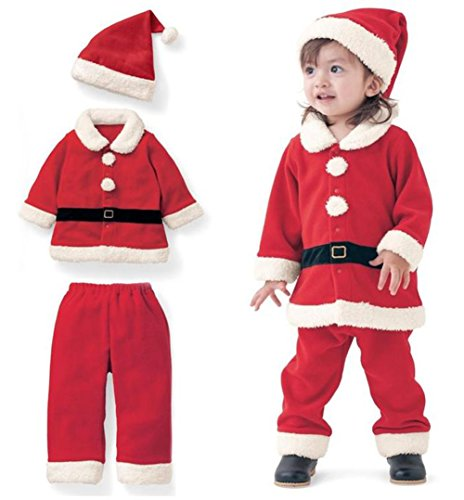 Christmas Costume Toddler Boys Girls Fleece Santa Claus Tops Coats+Pants+Cap Set Size 2-3Years/Tag100 (Red) ()