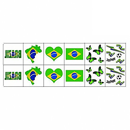 National Flag Tattoos, World Cup Temporary Tattoos,Russia 2018 Stickers Flag Stickers for Football Game Face Body Decor 12 Sheets (National Costume Brazil Kids)