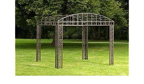 CLP - Cenador clásico de hierro recubierto de polvo I Pavillion con elegantes adornos I Jardín Rankpavillon Bronce: Amazon.es: Jardín