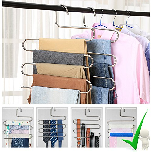 2 Pack Pants Hangers, S-Type Closet Organizer & Stainless Steel Multi Layers Magic Hanger, Space Saver Clothes Rack, Tiered Hanging Storage for Jeans, Scarf, Skirt - (14.17 x 14.96 Inch) - Guarder Metal