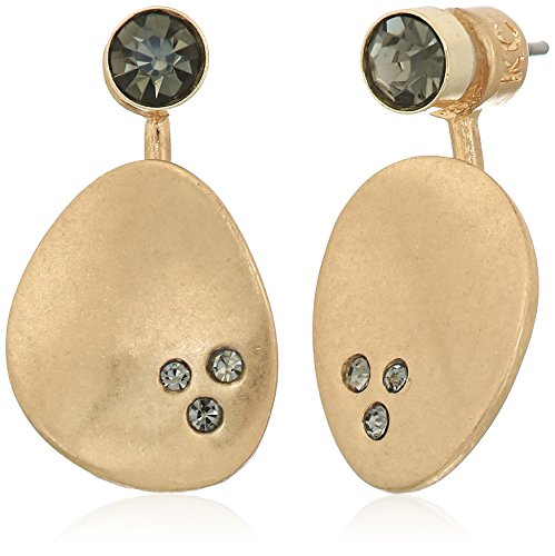 Kenneth Cole New York Scattered Pave Gold Tone and Black Diamond Front Back Earrings Jacket by Kenneth Cole New York