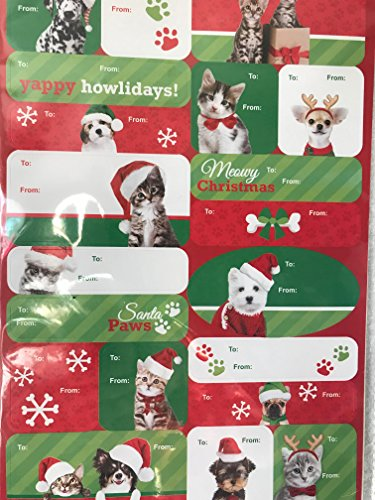 Set of 120 Pets Christmas Gift Tags, Puppy Self-Stick Holiday Gift Tags, Kitty Holiday Gift (Pet Tag Set)