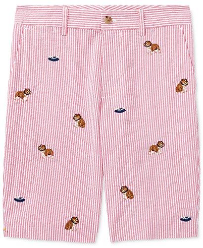RALPH LAUREN Polo Boys Seersucker Embroidered Bulldog Shorts (10)