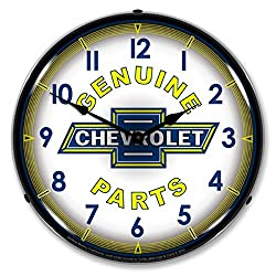 Collectable Sign and Clock GM912231 14 Chevy Parts Vintage Lighted Clock