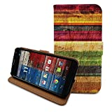 HelloGiftify colorful wood print flip leather case with card slot for Moto X (1st gen)