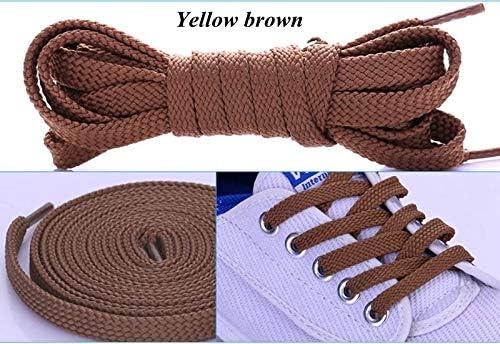 TMYQM 1Pairダブルフラットレース ポリエステル靴ひもファッションスポーツカジュアル靴レースソリッドフラット靴ひも28Colors (Color : Yellow brown, Size : 140CM)