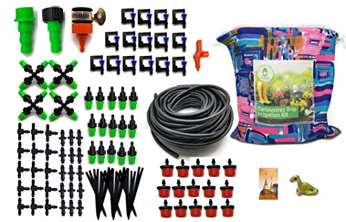 Curioustre Complete Drip Irrigation Kits System 5/7'' 50ft,Blank Distribution Tubing Hose Plant Watering Drip Kit /DIY Saving Water Automatic Equipment for Garden Greenhouse,Rain Bird Sprinkler (Set 1) by Curioustres