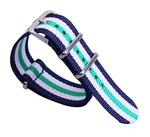 12mm Dark Blue/White/Green Deluxe Casual Durable Girls' Nylon NATO style Watch Straps Bands for Ladies