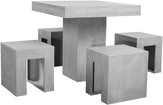 Tavoli Da Giardino In Cemento.Vidaxl Set Da Esterno Per Pranzo Tavolo 4 Sedie Giardino Parco In