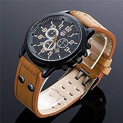 Shalleen Brown Military Leather Waterproof Date Quartz Analog Army Men's Quartz Wrist Watches