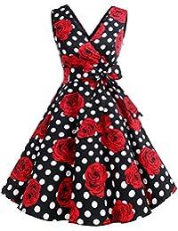 Dresstells® Vintage 1950s Solid Color V Neck With Bow Tie Retro Swing Dress
