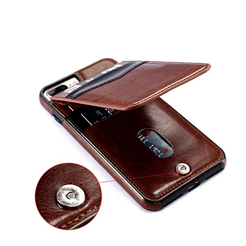 KiSSCASE iPhone X 10 8 7 6 6s Plus PU Leather Case Vertical Flip Multi Card Holders Photo Frame Stand Function Slot Cover Wallet Money (Brown, iPhone XR)