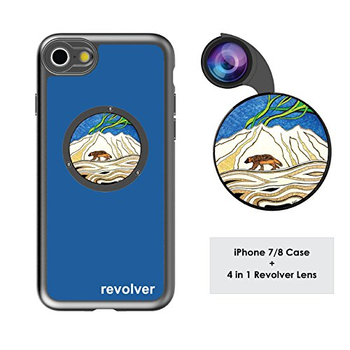 Ztylus Designer Revolver M Series Camera Kit: 4 in 1 Lens with Case for iPhone 7/8 – Fisheye Lens, Wide Angle Lens, Macro Lens, CPL (Wolverine Blue)