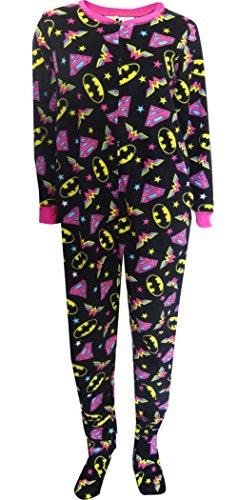 DC Comics Women's Ladies One Piece Pajama Superhero Plus, Black, 1X