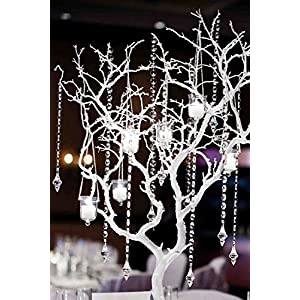 "Angel Isabella Set of 2: 33"" Glittered Metallic Artificial Manzanita Twig Tree Branch Perfect for Christmas Centerpiece Wonderland Wedding Decorations,Silver Gold or Champagne Colors 90"