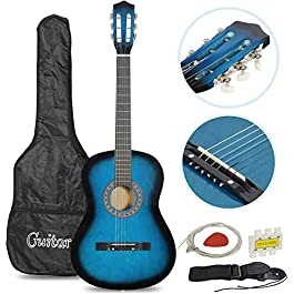 Smartxchoices 6 String 38″ Acoustic Guitar w/Gig Bag Strap Pitch Pipe Extra Strings Set Pick for Kids Beginners Starter Youths Students Right-handed(Blue)