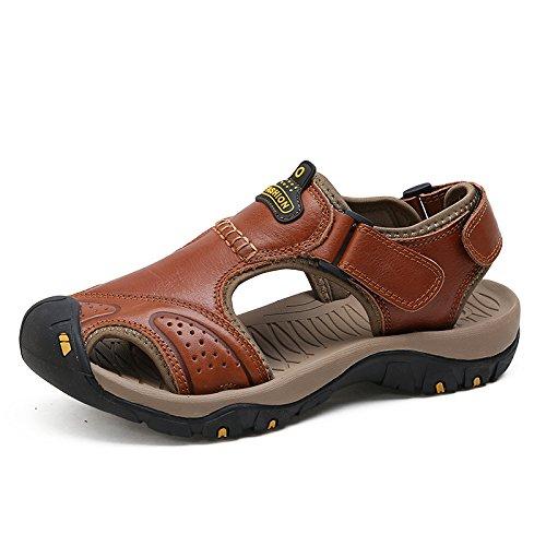 Xing Lin Sandales En Cuir LÉté De Nouveaux Hommes Chaussures De Plage Sandales Baotou Antidérapantes Respirant Extérieur Loisirs Quotidiens Des Chaussures DHommes 39 Code Standard, Rouge Et Marron C