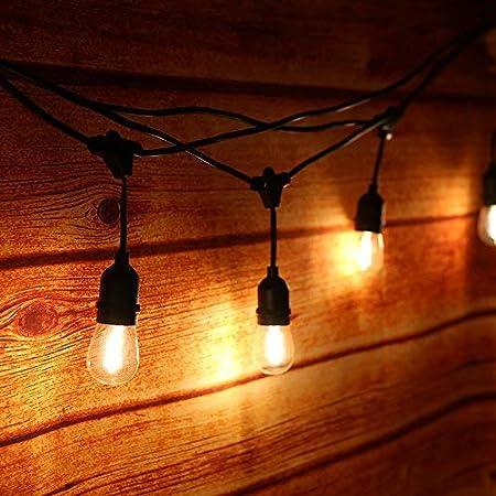 Guirnalda Luces Exterior,Tomshine Luz de Cadena 14.6M/48FT IP65 Impermeable,15pcs LED Filamento Bombilla Guirnalda Luminosa para Fiesta Boda Jardín Decoración(blanco cálido): Amazon.es: Hogar