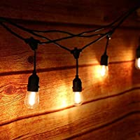 Tomshine – Guirnaldas luminosas de exterior, 15 unidades, LED, guirnaldas, impermeables, IP65, 15 m, E27, base E27, hasta 40 hilos (blanco cálido) (CE testado, alta calidad)