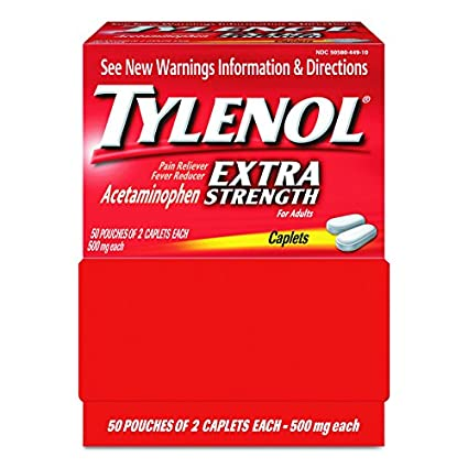 Tylenol 40900 Extra Strength Dispenser Box (50 Pouches of 2 Caplets Each)