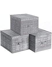 SONGMICS RYFB03LG zestaw 3 sztuk pudełko do przechowywania z pokrywką, składane pudełka z materiału z uchwytem na etykiety, pudełko materiałowe, kostka, 30 x 40 x 25 cm, szary melanż