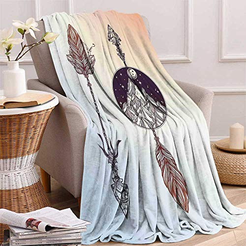 (maisi Occult Digital Printing Blanket Native American Boho Elements with Feather and Rocky Mountain Arrow Ethnic Design Summer Quilt Comforter 62