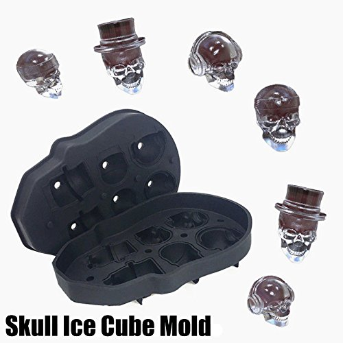 3D Skull Shape Ice Cube Chocolate Mold Maker Tray BPA Free Silicone 6 Cavity with Filler Funnel