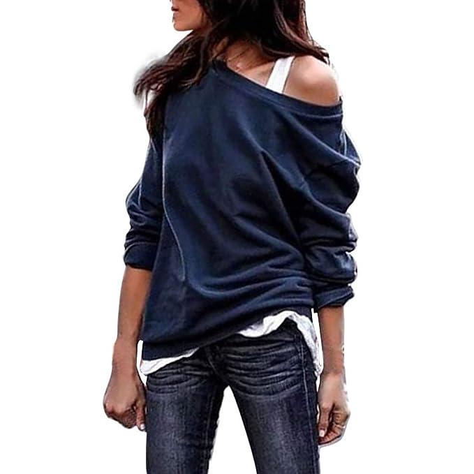 Luckycat Top Tallas Grandes Mujer Camiseta de Manga Larga Escote en V Sólido Blusa de un