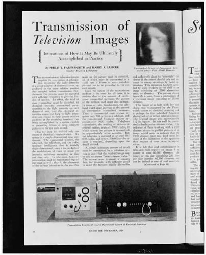 Photo: Transmission of television images, Philo Taylor Farnsworth, Harry R. Lubcke, Radio . Size: 8x