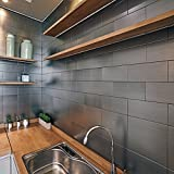 Ver Block Peel and Stick Design Stainless Steel DIY Interior Tile 1PCS (7.8 x 7.8 inch, Brush Grey)