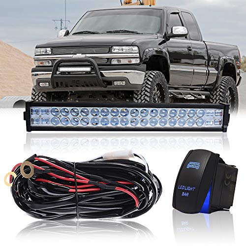 """DOT 22"""" Inch 120W Led Light Bar Combo Grill Windshield Bumper Light Bar + 1x Rocker Switch + 1x Wiring Harness for Trailer Boat SUV ATV Truck Jeep Wrangler Dodge Chevy Ford F150 F250 Tractor Toyota"""