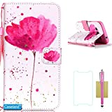 Galaxy Core Prime Case,CASELAND Samsung Galaxy Core Prime Case Flip Wallet with Stand Lanyard PU Leather with Samsung Galaxy Core Prime G360 [Lotus]