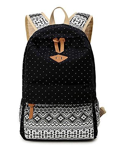 Dos Ethnique Fermeture Loisir Multi Style Scolaire Noir Fonction Backpack À Toile Femme Minetom Voyages Beau Éclair Sac I8UwAAq