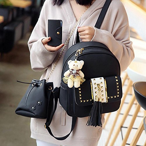 Bags set Card Tassel Pink Style Black PU Shoulder Style Tassel Bags Domybest Girls 3pcs Crossbody Women Backpack Bag 5vKP4