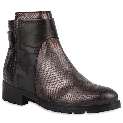 Mjus Damen Klassische Stiefeletten mit Blockabsatz Leder Metallic Zipper Flandell Schwarz