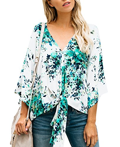 Sleeve Tie Short Floral - Gemijack Womens Floral Blouses Chiffon Summer Short Sleeve Deep V Neck Tie Front Tops Shirts