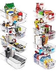 KICHLY – Opberbakken Bijkeuken (Transparant) - Set van 8 containers (4 grote en 4 kleine opbergbakken) Opslag voor keuken, bijkeuken, kasten, aanrecht en koelkast - BPA-vrij
