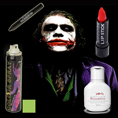 Halloween Joker MakeUp Set Of 4 - Miss Pouty White Liquid Foundation, Stargazer Red Lipstick, Stargazer Black Eye Shadow Pen And Stargazer UV Green Hairspray- Suitable for Adults and (White Halloween Makeup Uk)
