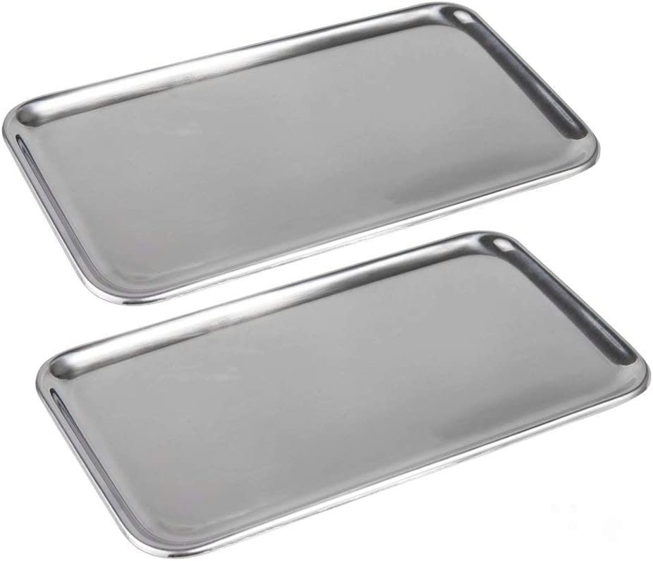 IMEEA Small Rectangle Tray for Bathroom Serving Vanity Organizer SUS304 Stainless Steel, 8 x 4.5 inch, 2-Piece (Silver)