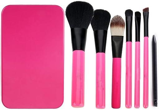KINGCOO - Juego de 7 brochas de maquillaje con caja de color rosa: Amazon.es: Belleza