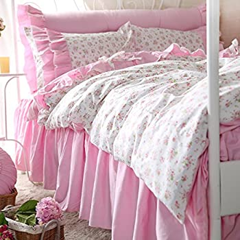 FADFAY Shabby Pink Ruffle Bedding Set Chic Floral Print Queen Duvet Cover Set 4PCS